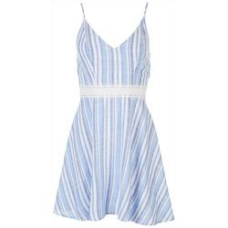 Juniors Striped Dress With Lace Detail