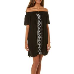 Speechless Juniors Embroidered Geo Off The Shoulder Dress