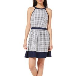 Speechless Juniors Geo Dot Fit & Flare Dress