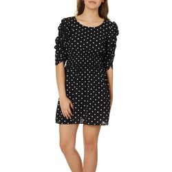 Speechless Juniors Polka Dot Ruched Sleeve Dress
