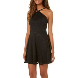 Speechless Juniors Medallion Lace Halter Dress