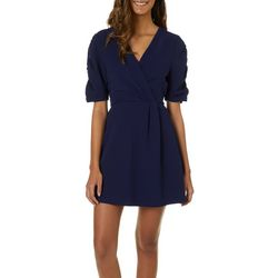 Speechless Juniors Solid Faux-Wrap Dress