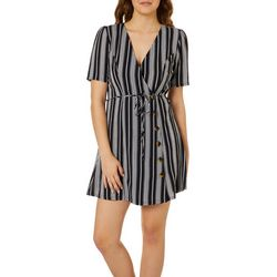 Speechless Juniors Striped Button Down Wrap Dress