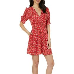 Speechless Juniors Floral Print Faux-Wrap Pocket Sundress