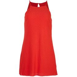 Juniors Eyelet Cherry Mini Dress
