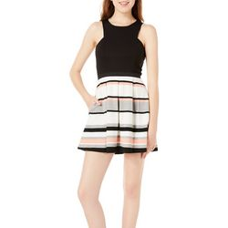 Speechless Juniors Solid Striped Fit & Flare Dress