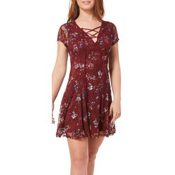 Speechless Juniors Floral Lace-Up Dress