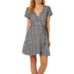 Speechless Juniors Plaid Faux-Wrap Dress