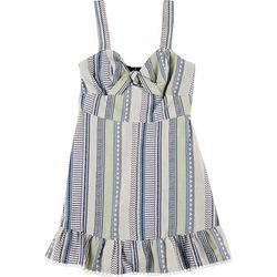 Juniors Striped Front Tie Short Dress