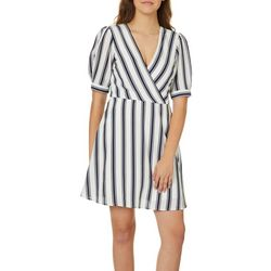Speechless Juniors Striped Faux-Wrap Dress