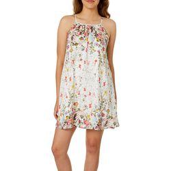 Speechless Juniors Floral Print Halter Swing Dress