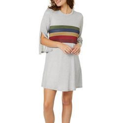 Speechless Juniors Striped Split Sleeve Sweater Dress