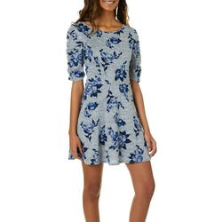 Speechless Juniors Heathered Floral Fit & Flare Dress