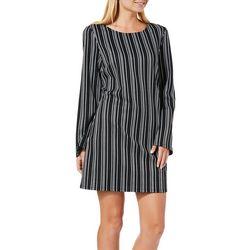 Speechless Juniors Striped Lace-Up Back Shift Dress