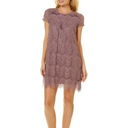 Speechless Juniors Lace Short Sleeve Shift Dress