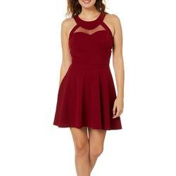 Speechless Juniors Solid High Neck Skater Dress