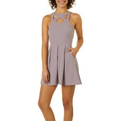 Speechless Juniors Caged Neck Fit & Flare Dress