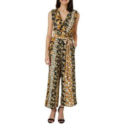 Speechless Juniors Floral Striped Belted Waist Jumpsuit