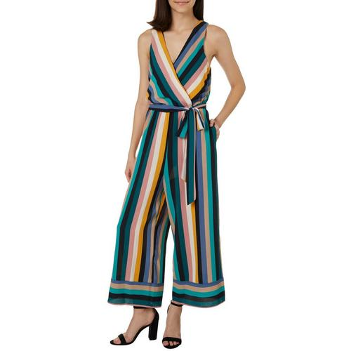 Speechless Juniors Striped Belted Waist Jumpsuit