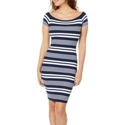 Say What? Juniors Striped Boat Neck Sweater Dress