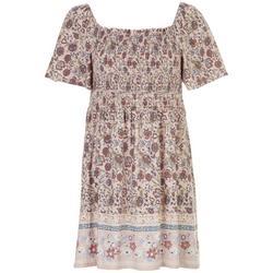 Juniors Floral Babydoll Short Dress