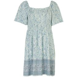 Be Bop Juniors Floral Babydoll Smocked Dress