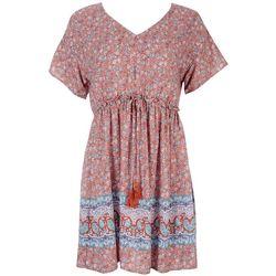 Be Bop Juniors Printed Dress With Tie Around The Waist
