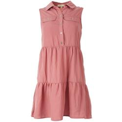 Juniors Solid Collared Dress With Front Pockets