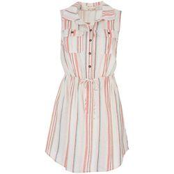Be Bop Juniors Striped Linen Sleevless Dress