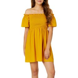Be Bop Juniors Solid Smocked Off The Shoulder Dress