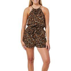 Be Bop Juniors Leopard Print High Neck Romper