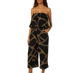 Be Bop Juniors Chain Print Strapless Jumpsuit