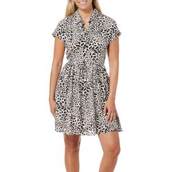 Be Bop Juniors Leopard Print Button Down Short Sleeve Dress