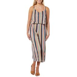 Be Bop Juniors Ribbed Striped Sleeveless Gaucho Jumpsuit