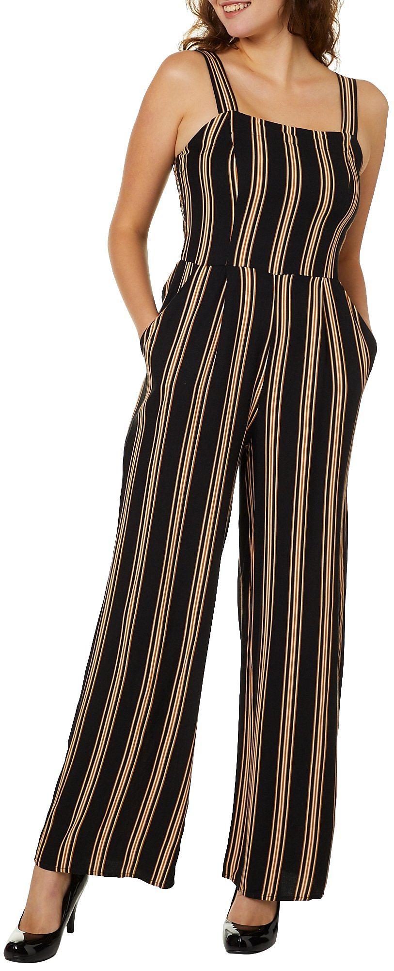6e3075ad809b Be Bop Juniors Striped Wide Leg Jumpsuit Large Black yellow white ...