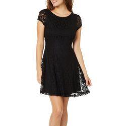 Be Bop Juniors Floral Lace Fit & Flare Dress