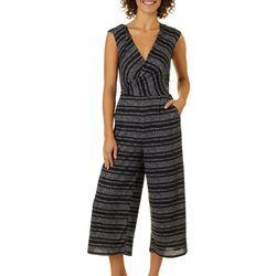 Be Bop Juniors Heathered Stripe Faux-Wrap Crop Jumpsuit