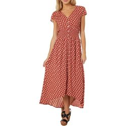 Be Bop Juniors Leaf Print Button Down High-Low Dress