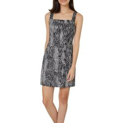 Juniors Snakeskin Print Button Down Sleeveless Dress