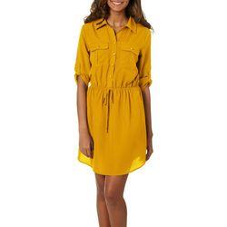 Be Bop Juniors Solid Roll Tab Blouson Dress