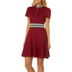Be Bop Juniors Solid Striped Front Zip Dress