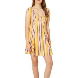 Be Bop Juniors Stripe Sweatheart Neck T-Shirt Dress