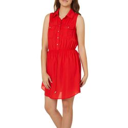 Be Bop Juniors Solid Blouson Shirtdress