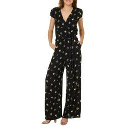 Be Bop Juniors Belted Lemon Print Faux-Wrap Jumpsuit