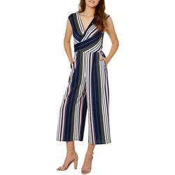 Be Bop Juniors Colorful Striped Faux-Wrap Crop Jumpsuit
