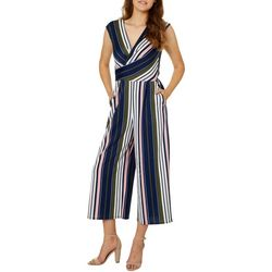 Be Bop Juniors Colorful Striped Faux-Wrap Crop Jumpsuit