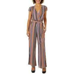 Be Bop Juniors Striped Faux-Wrap Wide Leg Jumpsuit