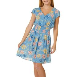 Juniors Floral Smocked Waist Dress