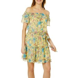 Be Bop Juniors Floral Print Tie Waist Dress