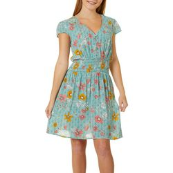 Juniors Floral Print Smocked Waist Dress